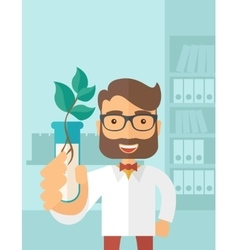 Chemist with tube and eco leaves vector