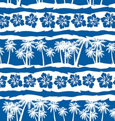 Tropical frangipani with beach palms seamless vector