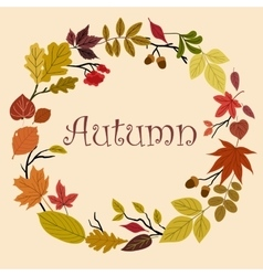 Autumn wreath with acorns and leaves vector