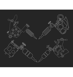 Set of 4 tattoo machines chalk on blackboard vector