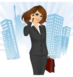 Businesswoman talking on the phone vector
