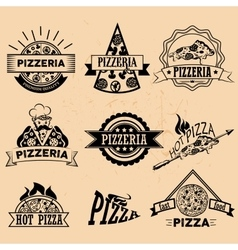 Set of pizza labels in vintage style icons vector