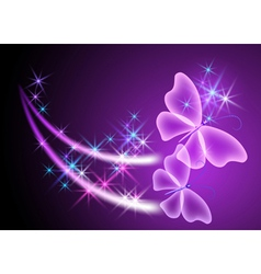 Glowing background with butterflies vector