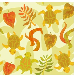 Seamless pattern with stylized tortoise and plants vector