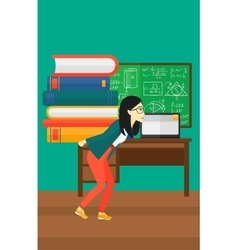Woman with pile of books vector