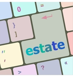 Estate word on keyboard key notebook computer vector