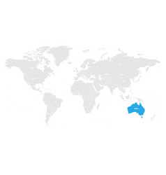 australia marked by blue in grey world political vector image vector image