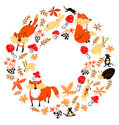 Autumn wreath with animals and florals cute fall vector