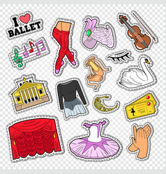 Ballet doodle with dance theater stickers vector