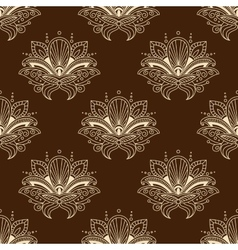 Brown and yellow eamless pattern with paisley vector