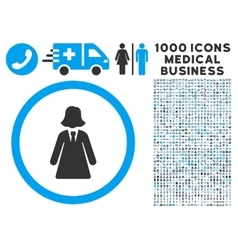 Business lady icon with 1000 medical business vector