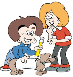 Cartoon of two happy children with a family dog vector