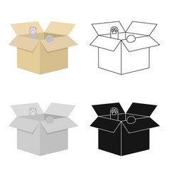 Cat in a carton box icon in cartoon style isolated vector