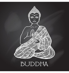 Chalk board buddha vector