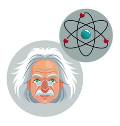 Character scientist physical molecule atom icon vector