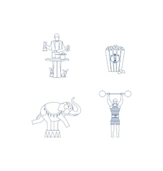 Circus blue line art icons vector image