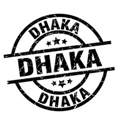 Dhaka black round grunge stamp vector