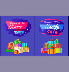 Discount 25 45 winter sale poster with advert box vector