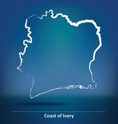 Doodle Map of Coast of Ivory vector image
