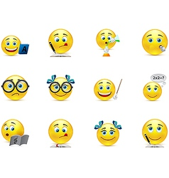 funny smiley collection on the topic teaching and vector image vector image