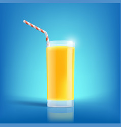 Glass of freshly squeezed orange juice drink with vector