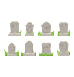 Gravestones set old tomb collection ancient rip vector