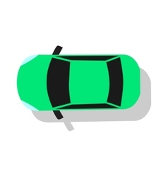 Green car top view flat design vector