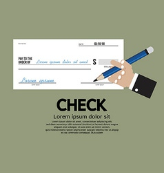 Hand holding a pencil with check vector