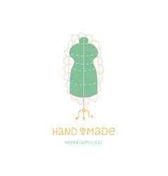 Hand made logo tailor dummy mannequin hobby icon vector