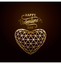 happy valentines day golden vector image vector image