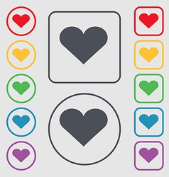 Heart Love icon sign symbol on the Round and vector image