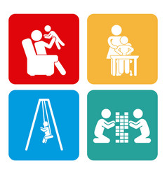 Icons set of family vector