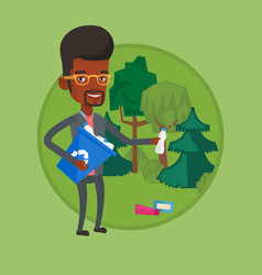 man collecting garbage in forest vector image