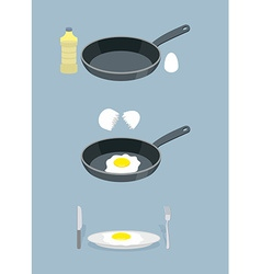 Manual cooking scrambled eggs fry omelette frying vector