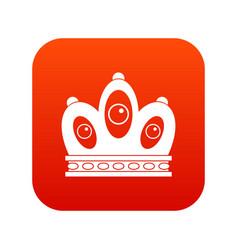 Queen crown icon digital red vector