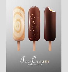 realistic classic ice cream eskimo set vector image vector image