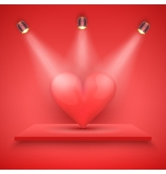 Red Presentation platform and big heart vector image vector image
