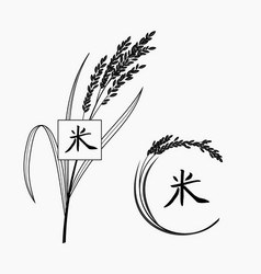 Rice plant with hand written chinese character vector