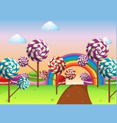 Scene with candy field vector