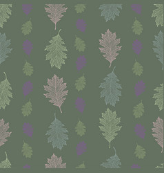 Seamless pattern from the leaves of red oak vector