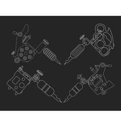 Set of 4 tattoo machines Chalk on blackboard vector image vector image
