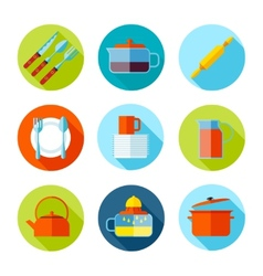 Set of flat cutlery and dishes icons vector