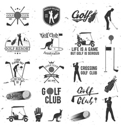 Set of Golf club concept with golfer silhouette vector image vector image