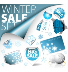 set of winter discount elements vector image vector image