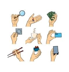 Silhouette hands symbols vector image