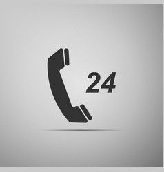 telephone 24 hours support icon on grey background vector image