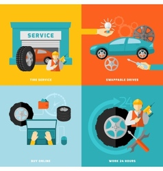 Tire service set vector