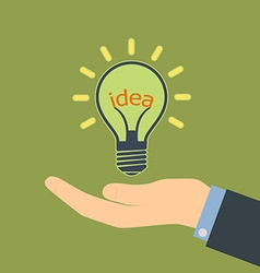 Word idea in a light bulb vector image vector image