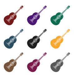 yellow guitar hippy single icon in black style vector image vector image
