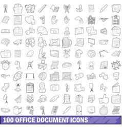 100 office document icons set outline style vector image